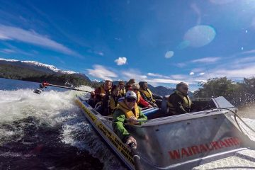 Jet boat across the deepest lake in New Zealand