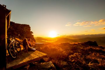 Witness beautiful sunsets at Welcome Rock Trails in Northern Southland