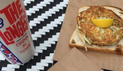 Whitebait fritters and a milkshake