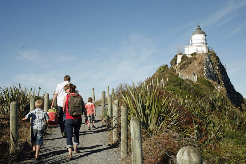 Family at Nugget Point Lighthouse
