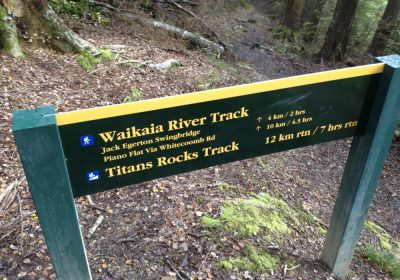 Waikaia River Track and Titans Rock sign